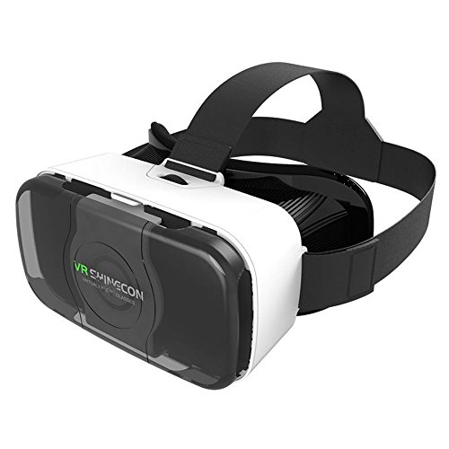 3D VR Virtual Reality headset VR glasses Viewer goggles for iphone 7/7 Plus 6 plus Samsung Glaxy S6 EDGE Note 5 Google Pixel XL Nexus 6P (White)