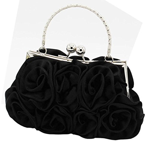 LOngra Women Satin Rose Pure Color Handbag Evening Bags Wedding Handbags Tote Shoulder Bags PU Leather Medium Size -