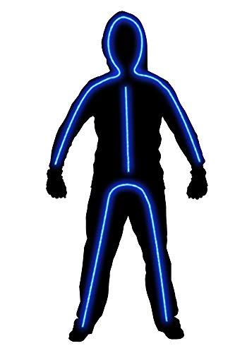 Hsctek Light up Stick Figure Costume for Kids, Boys Girls Stick Man Halloween Costume(Blue, 7-9Y) -