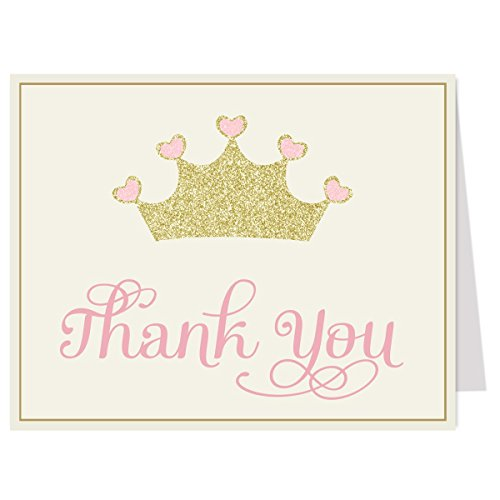 Free Baby Shower Cards (Pretty Princess Pink Thank You Cards, Multiple Colors, for Girls Baby Shower or Birthday, Set of 50 with Envelopes, FREE shipping)