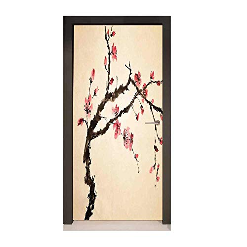 Homesonne Japanese Door Decal Traditional Chinese Paint of Figural Tree with Details Brushstroke Effects Print Modern Art Pink Brown,W23xH70