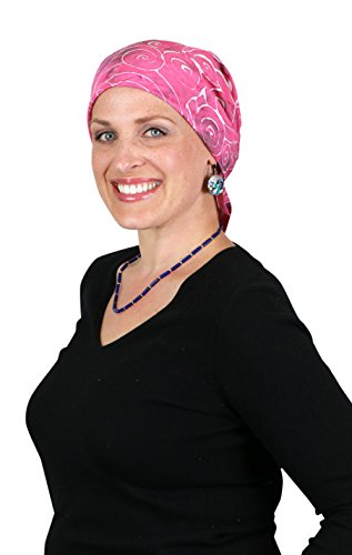 Bali Batik Head Scarf Chemo Scarves for Women Cancer Headwear Square Head Wrap (Paradise Pink)