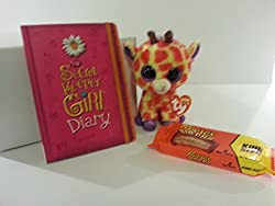 Best Easter Gift Set Giraffe Ty Beanie Boos Plush, My Secret Keeper Girl Diary, A Pack of 2 Reese's Big Cups and Glossy White Gift Box