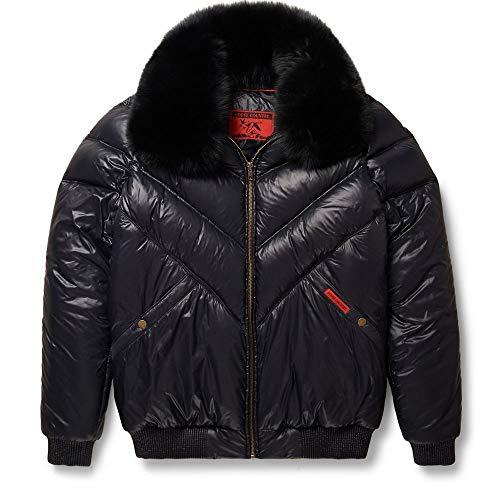 Goose Country Nylon V-Bomber Jacket Black with Black Fox Fur