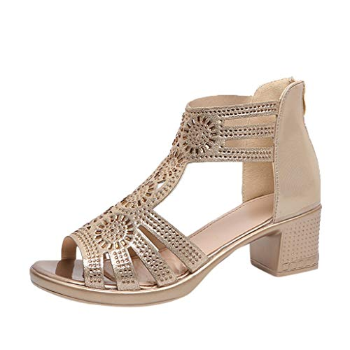 - ❤️ LIBERTY-GIRLS❤️ Women's Sexy Shoes Comfort Womens Strappy Rhinestone Open Toe Breathable Sandals Gold