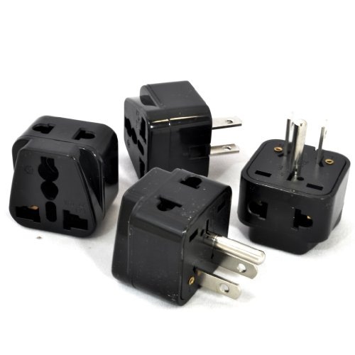 OREI 2 in 1 Universal to Grounded USA Adapter Plug - 4 Pack,