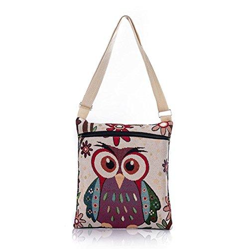 Bag Linen Shoulder Tote Embroidered Handbags Owl Yuan F Women Bags PqOawPE