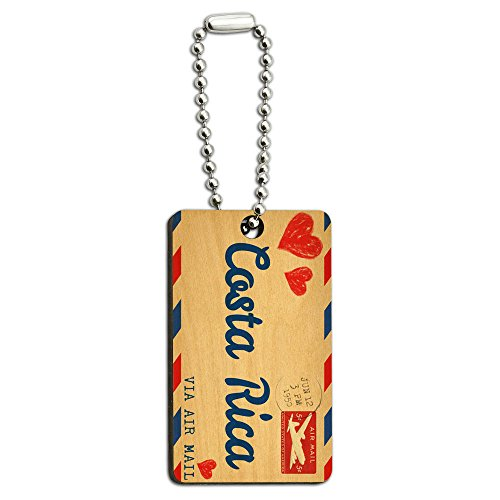 Graphics and More Air Mail Postcard Love for Costa Rica Wood Wooden Rectangle Key Chain ()