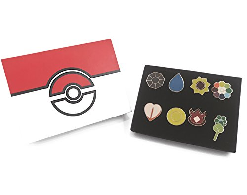 Pokemon League Gym Badges - Set of 8 with Box Included - More Detailed & Accurate Design - Kanto Region/Indigo League - Silver Trim - Hard Enamel - Iron - Butterfly Pin Backing