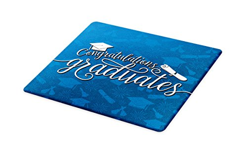Lunarable Graduation Cutting Board, College Celebration Ceremony Certificate Diploma Square Academic Cap Print, Decorative Tempered Glass Cutting and Serving Board, Large Size, Blue and White by Lunarable (Image #1)