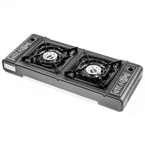 Stark Portable Cassette Butane Double Gas Stove Dual Burner Outdoor Camping Dual-Burner, Black