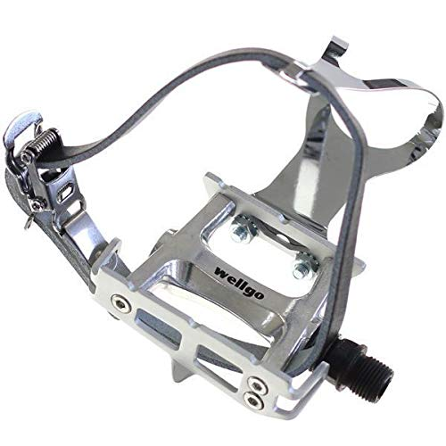 (Wellgo Track Fixie Bike Pedals Toe Clips and Leather Straps Silver )