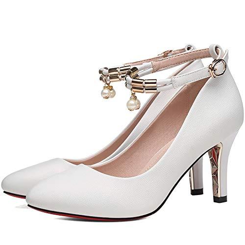 Abend Büro on Frauen Kleid Knöchel Arbeit Kleid Schuhe Court Schuhe Schnalle Pumps Slip Heels High Stiletto Party Spitz ww1q6gfR