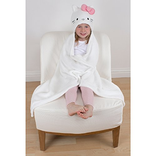 Hello Kitty Childrens/Girls Petal Hooded Character Fleece Blanket (31.5in x 47.2in) (White/Pink)