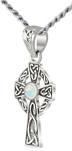 US Jewels And Gems Small 0.925 Sterling Silver Irish Celtic Knot Cross Simulated Opal Pendant Necklace