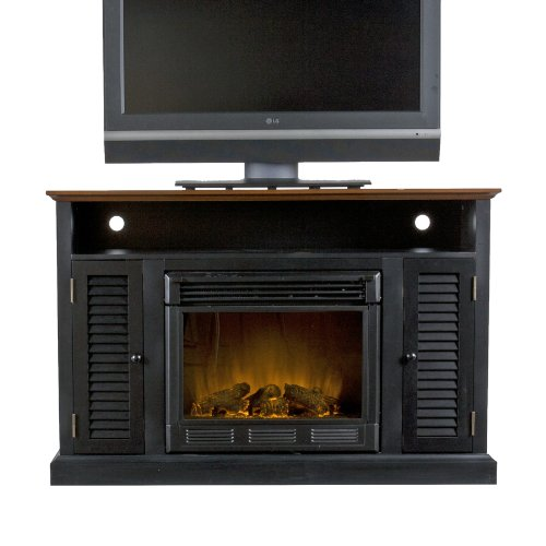 SEI Antebellum Media Console with Electric Fireplace, Black/ Walnut