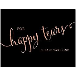 Andaz Press Wedding Party Signs, Faux Rose Gold Glitter on Black, 8.5x11-inch, For Happy Tears Tissue Kleenex Ceremony Sign, 1-Pack