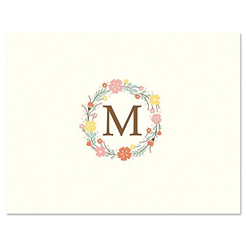 Delicate Cluster Initial Monogram Note Card Set, Set of 24 cards with envelopes, 4-1/4