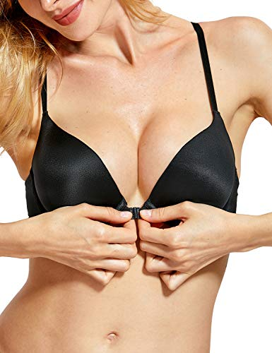 4f8d5825c9 DOBREVA Women s Front Close Bra Underwired T-Shirt Padded Push Up Bra Plunge
