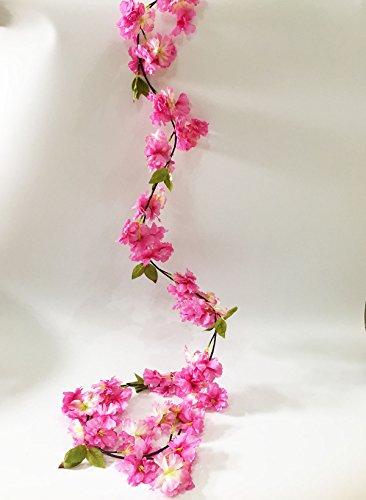 Artfen Artificial Cherry Blossom Vine Hanging Plants Faux Sakura Garland Fake Oriental Cherry Wreath Artificial Flower 5.8 FT Deep Pink