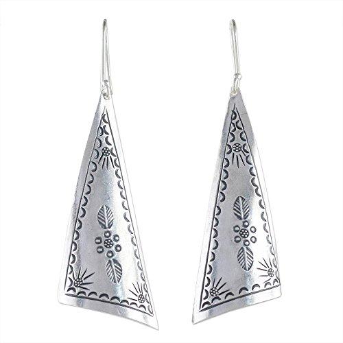 NOVICA .925 Sterling Silver Dangle Earrings, Exotic Triangles'
