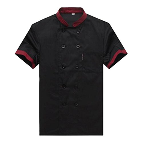 Chef Coat Jacket Uniform (TopTie Unisex Short Sleeve Hotel Restaurant Waiter Chef Coat Jackie Black-S)