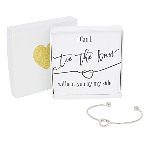 - Bridesmaid Gifts - Tie The Knot Bracelet w/Gift Box, Bridesmaid Proposal Gift, Love Knot Jewelry, Bridal Party Gift Sets (Gold, Rose Gold, Silver) (Black Note_Silver Bracelet)