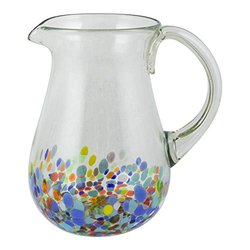 NOVICA Hand Multicolor Confetti Festival' Blown Glass Pitcher, 87 oz,