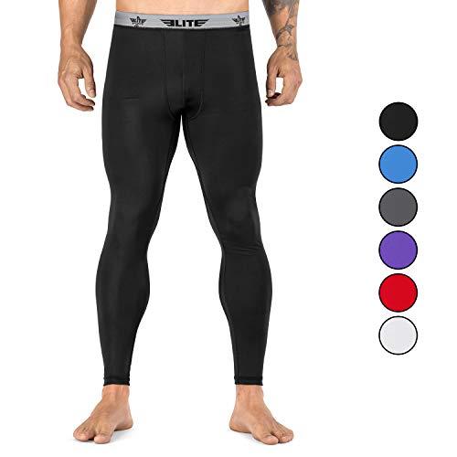 Elite Sports Men's BJJ Spats Leggings Tights, Best Jiu Jitsu MMA no Gi spat Compression Pants for Men (Black, XX-Large)