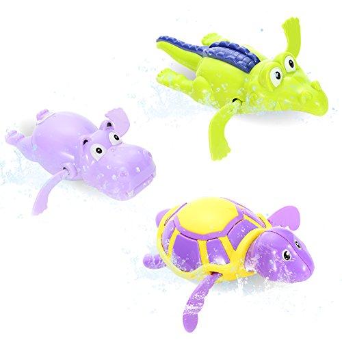 Acekid 3pcs Pool Wind Up Bath Toys Animal Swimming Tub Bathtub Playset Clockwork Play Toy Kid Educational Water Toys,Color Random Turtle Swimming Pool