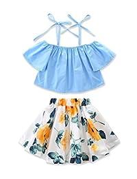 SUPEYA Toddler Baby Girls Off Shoulder Shirt Tops+Floral Skirts Outfits 2PCS Set