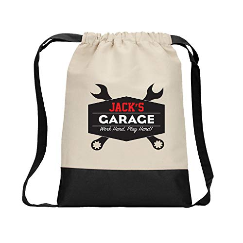 (Personalized Custom Text Place Garage Work Hard Play Hard Cotton Canvas Color Drawstring Bag Backpack - Black)