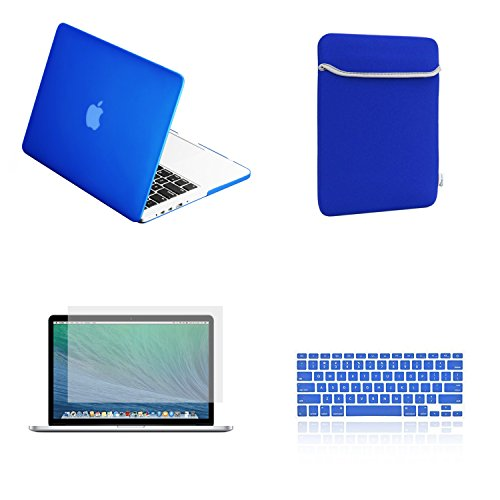 TopCase Rubberized Hard Case for 13-Inch Macbook Pro A1425 and A1502 Bundle with Sleeve, Silicone Keyboard Cover, Clear Screen Protector and Mouse Pad -  Royal Blue