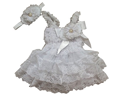 [LMC Wedding Flower Girl Lace Dress Set Completed with Handmade Floral Elastic Headband (3-6m,] (White Party Outfit Ideas)