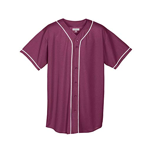 Augusta Sportswear Augusta Wicking Mesh Button Front Jersey with Braid Trim, Maroon/White, XX-Large