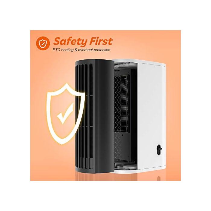 ▶Buen Compañero de Invierno: Nuestro calentador de aire caliente está hecho de material ignífugo ABS y tiene un diseño de protección contra sobrecalentamiento, seguro de usar. Incluso en el frío invierno, puede disfrutar de un calor ilimitado. ▶Calentamiento Rápido y Ahorra Energía: Nuestro mini calentador genera calor a través del cable calefactor, que puede calentarse más rápido que los calentadores normales. Gracias a la potencia de hasta 500 vatios, el aire se calienta de manera eficiente y se puede tambien ahorrar electricidad. ▶Ultra Fácil de Usar: Con diseño de dos velocidades ajustables, fácil de operar. Presione el botón hacia la izquierda para encender el modo de calentar el aire; presione hacia la derecha para entrar el modo de calentar el aire + movimiento de cabeza.