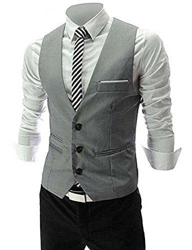 MARIR Men Vests Jacket Classic Style Slim Fit Business Waistcoat (Grey, M) by MARIR (Image #6)