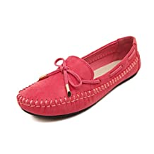 Doris Fashion 008 Women's Stylish Bowknot Suede Flats Loafers Driving Work Shoes