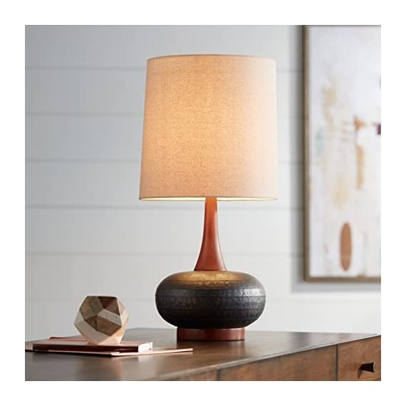 "Andi Mid Century Modern Table Lamp Hammered Bronze Ceramic Wood Off White Tall Drum Shade for Living Room Family Bedroom - 360 Lighting - 24 1/2"" high overall. Base is 5 1/4"" wide. Shade is 11"" across the top x 12"" across the bottom x 12"" high. Weighs 5.7 lbs. Uses one maximum 100 watt standard-medium base bulb (not included). On-off socket switch. Mid-Century Modern table lamp from the 360 Lighting brand. - lamps, bedroom-decor, bedroom - 41xAsKqCiBL. SS570  -"