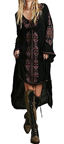 R.Vivimos Women Cotton Embroidery Loose High Low Long Dresses XX-Large Black