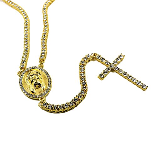 [24K Gold Plated Hip Hop Iced Out Tennis Rosary With CZ Diamonds] (Guys Hip Hop Dance Costumes)