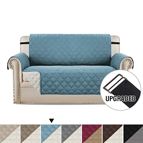 (H.VERSAILTEX Loveseat Covers Loveseat Slipcover Reversible Quilted Furniture Protector, Improved Anti-Slip with Elastic Straps and Foams Slipcovers for Dogs/Cats (Love Seat - Smoke Blue/Beige))