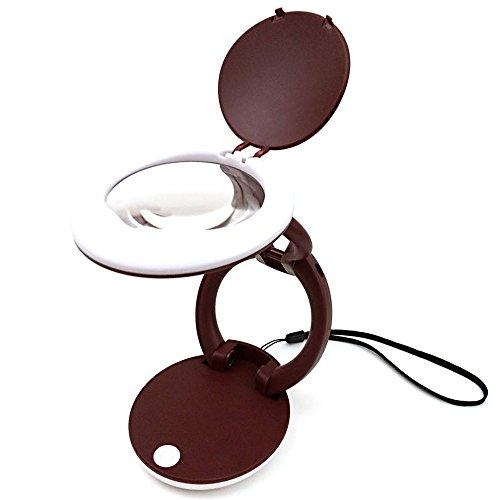LED Illuminated Folding Magnifying Glass with Stand and Lanyard - 3X Lens Hands Lighted Magnifier for Reading, Repair, Inspection, Hobby and (Illuminated Magnifying)