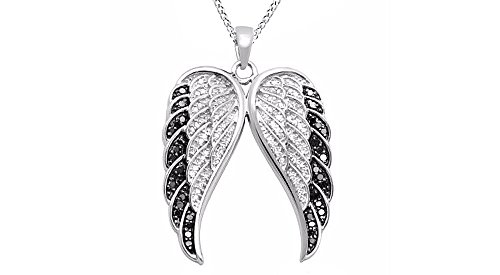 Jewel Zone US Black and White Natural Diamond Wings Pendant Necklace 14k White Gold Over Sterling Silver (1/10 (Diamond Wing Earrings)
