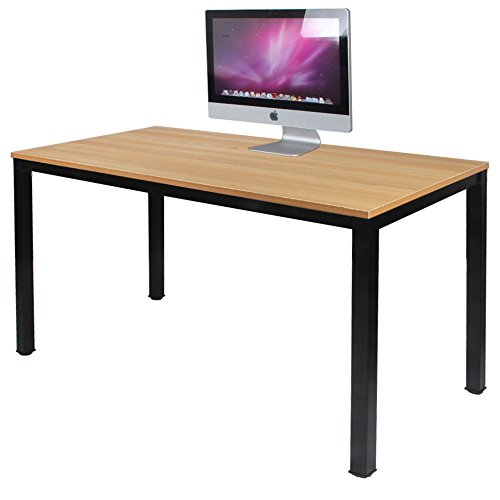 DlandHome 47 Medium Computer Desk, Composite Wood Board, Decent Steady Home Office Desk Workstation Table, BS1-120TB Teak Black Legs, 1 Pack