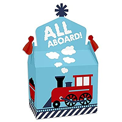 Big Dot of Happiness Railroad Party Crossing - Treat Box Party Favors - Steam Train Birthday Party or Baby Shower Goodie Gable Boxes - Set of 12: Toys & Games