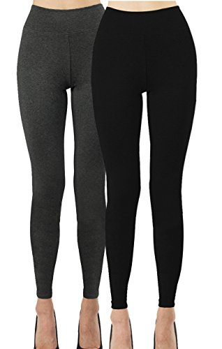iLoveSIA 2PACK Women's Ankle Leggings Black + Dark Grey XL