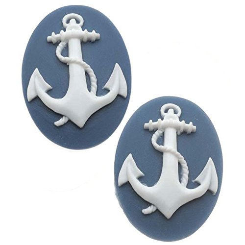 (Beadaholique Lucite Oval Cameo - Navy Blue with White Anchor 25x18mm (2 Pieces))