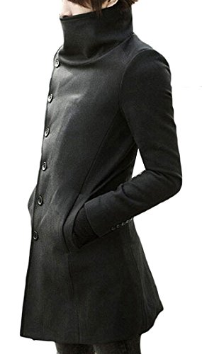 [Eric Hug Hot selling Men's Premium Breasted Solid Long Coat Woolen Coat BlackChina X-Large best] (Morph Suite)