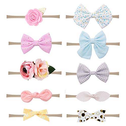Prohouse 10PCS Baby Nylon Headbands Hairbands Hair Bow Elastics for Baby Girls Newborn Infant Toddlers Kids (10 different styles)